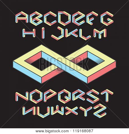 Hexagon isometric retro font set on black background
