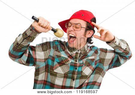 Funny guy singing isolated on white