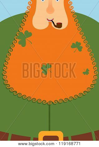 Good Leprechaun.. Portrait Of Cheerful Old Man With Red Beard. Green Frock Coat And Belt. Clover In