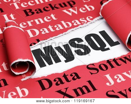 Programming concept: black text MySQL under the piece of  torn paper