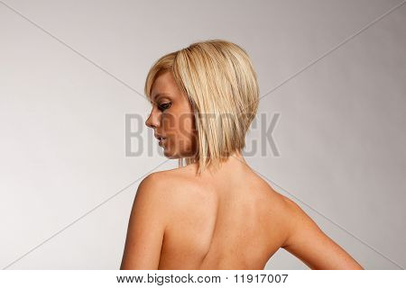Haircut and hairstyle on blonde hair