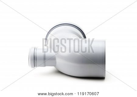 New gray drain pipe isolated on white