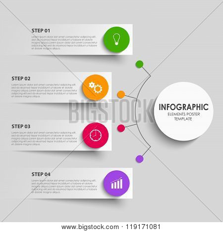 Info Graphic With Abstract Design Stickers Indicators Template