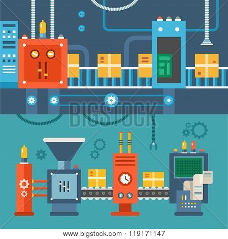 Conveyor System With Manipulators. Flat Style Vector Illustration
