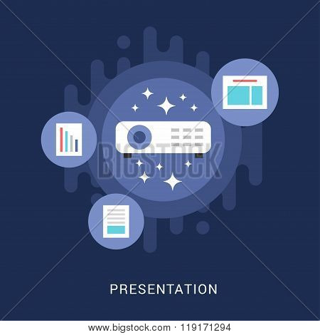 Business Concept. Presentation. Vector Illustration In Flat Design Style. Projector With Document An