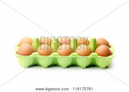 Eggs in green egg box