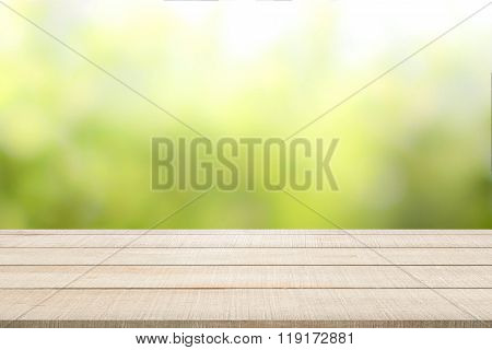 Wood Table Top Panel On Green Background