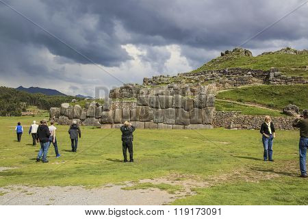 People Visit The Ancient Sacsayhuaman Walls