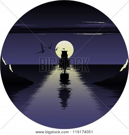 Vector illustration of moon over the sea and ship. beautiful night at the sea. the ship embarks on a