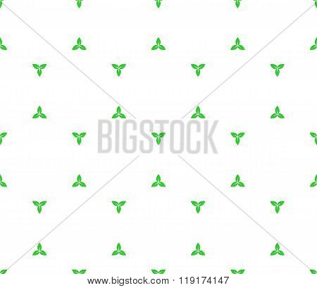 Floral Seamless Pattern With Distant Three Plant Leaves Elements