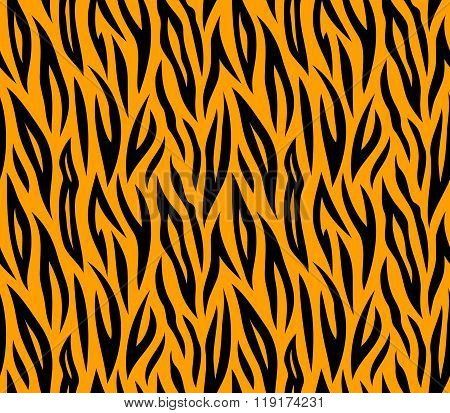 Tiger Skin Seamless Repeated Vector Texture. Orange And Black Color Spots. 2X2 Tiles Sample. Swatch