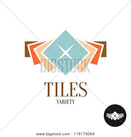 Tiles Variety Logo. Row Of The Color Square Tiles For Interior Apartment Design.