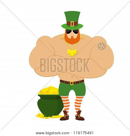 Strong Leprechaun. Powerful Big Leprechaun In Green Hat. Bodybuilder In Red Beard. Sports Man With B