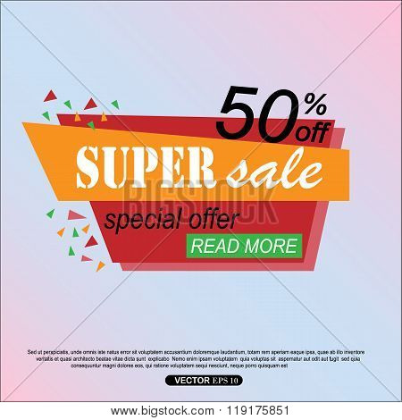 Super Sale Banner Design. Super Sale Vector Tag Banner Can Use For Promotion. Super Sale Background