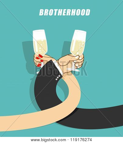 Brotherhood To Drink Alcohol. Man And Woman Drinking Champagne. Goblets With Sparkling Wine. Mens Ha