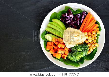 Healthy lunch bowl with super-foods and mixed vegetables