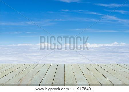 Empty Top View Of Wooden Table And View Of Sunset Or Sunrise On Sand Beach Background.