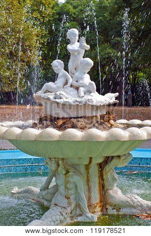 Varna, Bulgaria - August,2013: Fountain in the city park of Varna