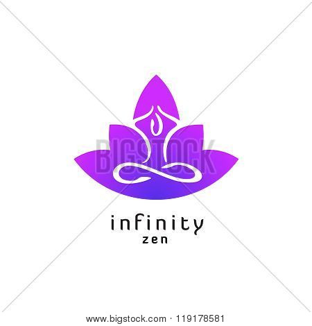 Yoga Zen Pose Logo With Lotus Flower Silhouette. Infinity Sign Legs.