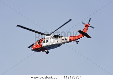 Sharm El Sheikh, Egypt: October, 2011 - Military helicopter and blue sky background close up