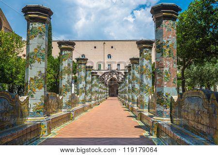 Majolica Cloister In Santa Chiara Complex, Naples, Italy