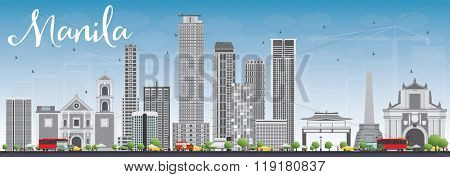Manila Skyline with Gray Buildings and Blue Sky. Business Travel and Tourism Concept with Modern Buildings. Image for Presentation Banner Placard and Web Site.
