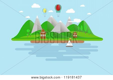Islands, green hills, grey mountains with white peaks, blue skies, water, trees, balloons, boat sail