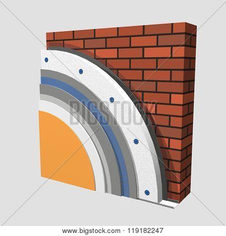 Polystyrene Wall Insulation 3D Scheme