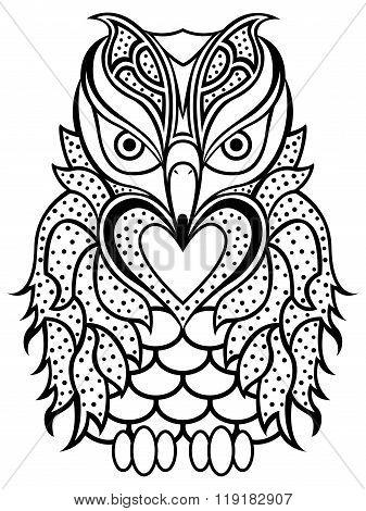 Amusing Beaky Owl Black Outline
