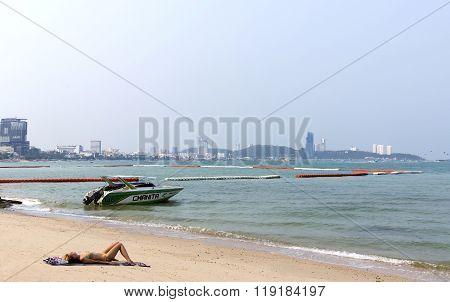 Excursion cutter near Pattaya city beach