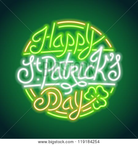 St Patricks Day Glowing Neon Sign