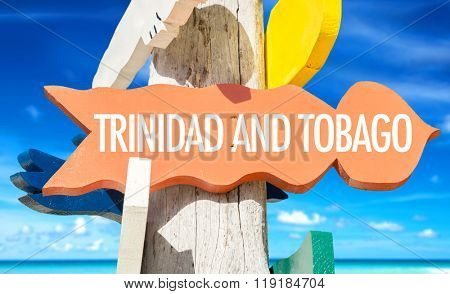 Trinidad and Tobago welcome sign with beach