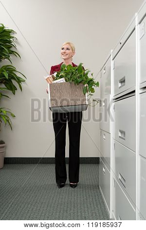 Woman moving office