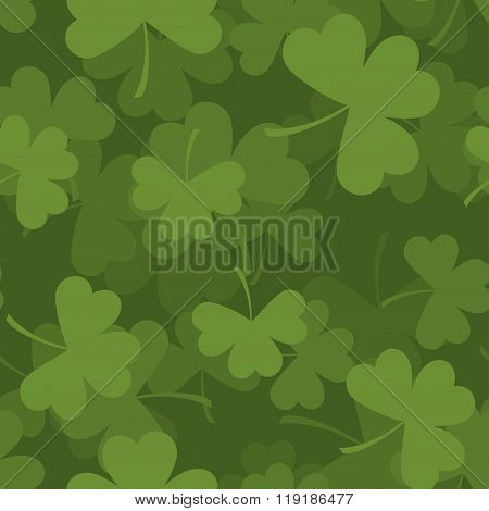 Green Clover Seamless Pattern. 3D Background For Feast Of St. Patrick. Texture Plants Trefoil