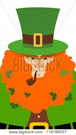 Leprechaun In Green Hat. Portrait Serious Leprechaun With Big Red Beard. Angry Leprechaun With Smoki
