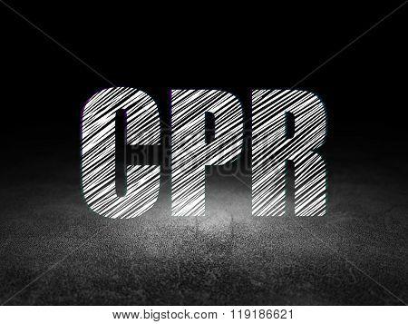 Health concept: CPR in grunge dark room