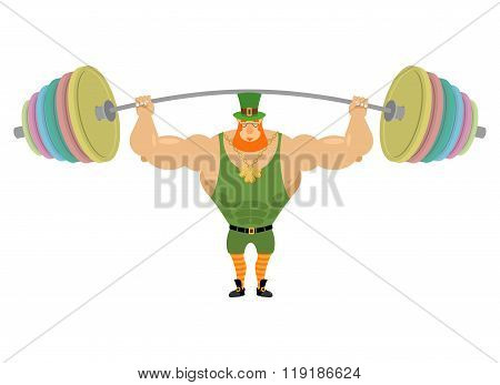 Leprechaun And Barbell Sports. Bench Press Barbell Above His Head. Exercises For Shoulders. Strong,