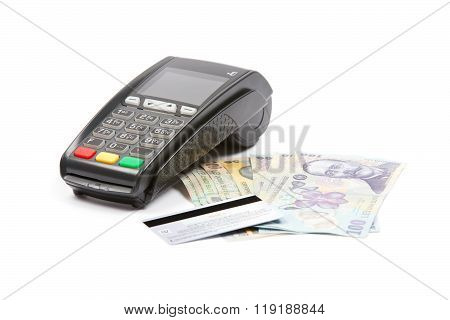 Payment Terminal In A White Background, Paying With Credit Card, Credit Card Reader, Finance Concept