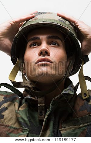 Portrait of young male soldier