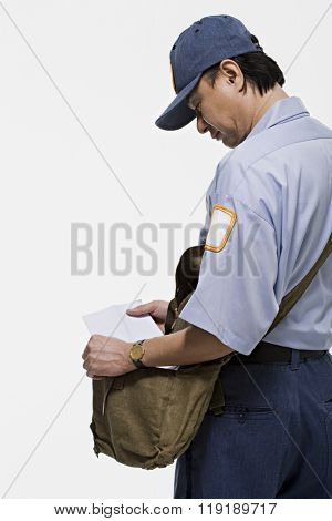 Postman holding a letter
