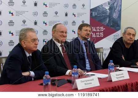 ST. PETERSBURG, RUSSIA - DECEMBER 3, 2015: Press conference devoted to the preparations for St. Petersburg International cultural forum. The forum will be held in December 14-16