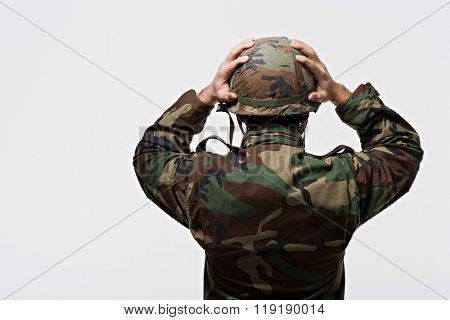 Rear view of a soldier