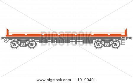 Open platform Railway freight car - Vector