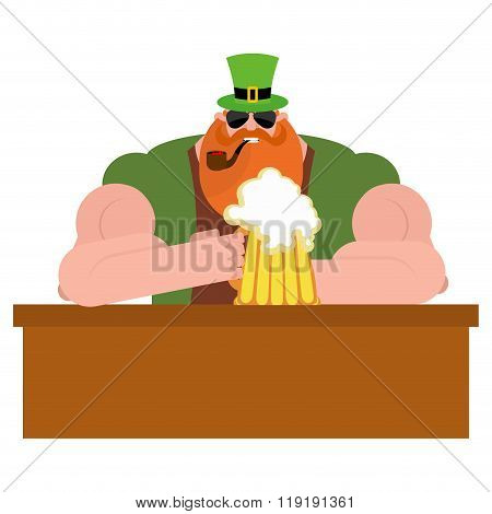 Leprechaun Drinking Beer. Big And Serious Leprechaun At  Bar Holds Pint Of Ale. Powerful Magical Mid