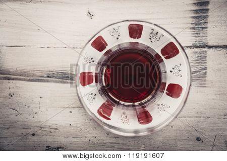 Transparent Tea Saucer Wooden Background