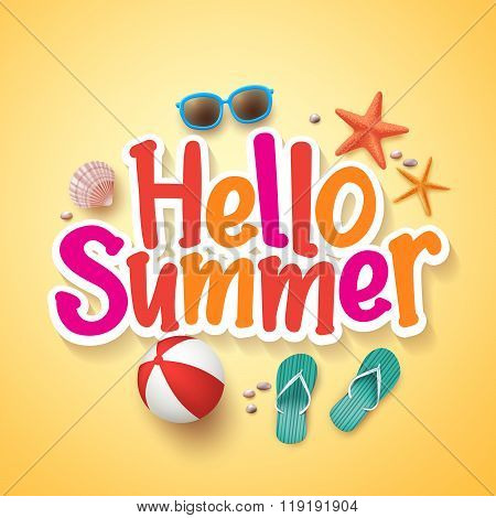 Hello Summer Text Title Poster Design with Realistic 3D Vector Elements
