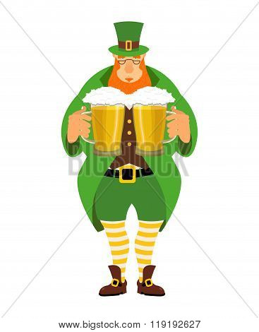 Leprechaun And Beer. Good Leprechaun Keeps Two Mugs Of Beer. Cute Old Man In Green Hat Cylinder. Old