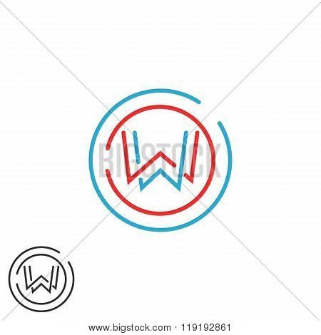 Letter W Logo Overlapping Line Monogram, Round Geometric Shape Modern Business Card Emblem, Creative