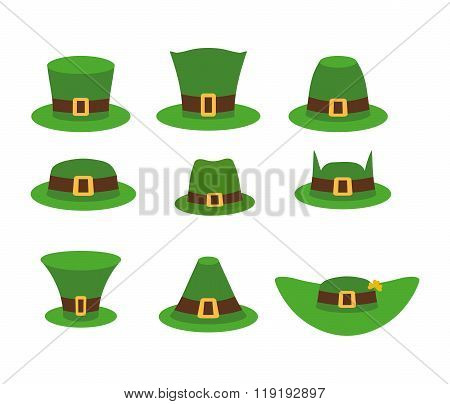 Green Hat Leprechaun. Leprechaun Hat, Green Hat Isolated On White. Leprechaun Hat. Set Of Headgear F