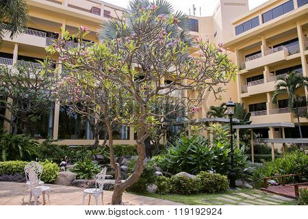 THAILAND, PATTAYA, MARCH, 26, 2015 - Multistory modern hotel Dusit Thani with a beautiful garden in Pattaya, Thailand